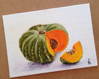 "Original Oil Pastel painting. Still life with a pumpkin. 5""x7"" Oil Pastel on a canvas board."