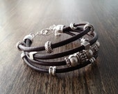 Boho leather bracelet and silver plated. Leather wrap bracelet. Brown leather bracelet and silver