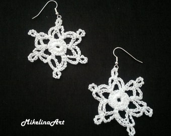 Crochet Earrings, White,100% Cotton.