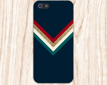 Colorful Chevron x Gold Glitter x Navy Blue Case for iPhone 6 6 Plus iPhone 7  Samsung Galaxy s8 edge s6 and Note 5  S8 Plus Phone Case