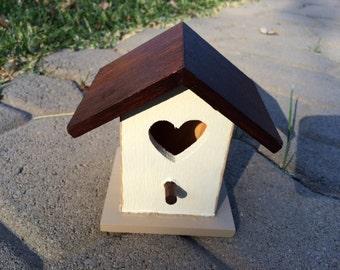 Hand Painted BirdHouse With Hen Chicken Bird House Heart