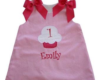 Pink Cupcake Dress, Applique Birthday Dress,Cupcake Birthday Dress