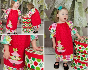 Red Christmas Tree Dress, Applique Christmas Tree Dress