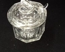Antique Condiment Jar With Glass Ladle, Jelly Jar with lid, pressed glass