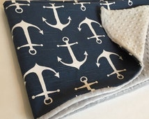 Anchor baby blanket, minkey dot and anchor baby blanket, Sailor navy blue anchors baby blanket