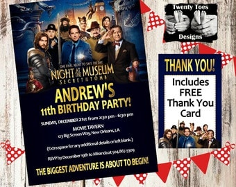 NIGHT at the MUSEUM 3 (2014) Birthday Party Invitation, Flat Invite, 4x6 or 5x7, Personalized, Customized, Printable