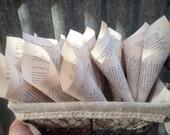 100 Book Page Confetti Cones, wedding, confetti holder