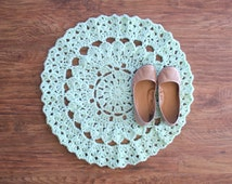 "25"" Crochet Mint Doily Rug, Mint Wedding Decor, Nursery Decor, Boho Rug, Bedside Rug, Mandala Decor"