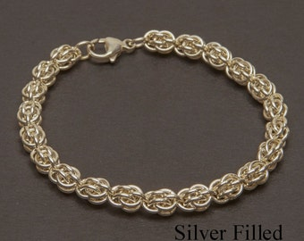 Silver Filled Sweet Pea Bracelet,  Chainmaille bracelet, Sterling Silver 13mm lobster clasp  (B50)