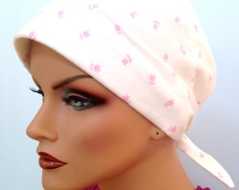 Gabrielle Flannel Head Scarf, A Women's Cancer Headwear, Chemo Scarf, Alopecia Hat, Head Wrap, Head Cover for Hair Loss - Pink Flowers