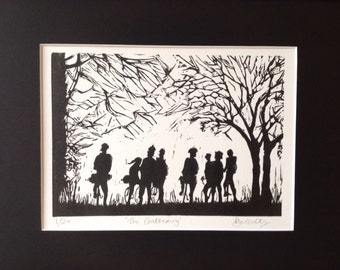 Handpulled linocut print 'The gathering' limited edition of 20.