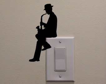 "Man Playing Saxophone On Light Switch (6.5""x3.2"") - Bedroom/Home Decor Decal"