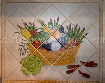 Hand painted kitchen Basket Backsplash mural