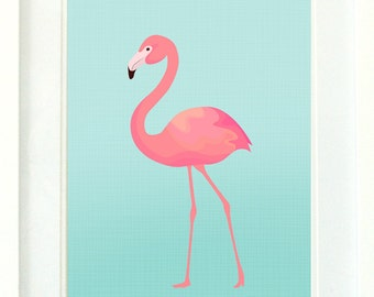 Flamingo Print / Turquoise and Pink Flamingo Wall Art Printable / Girls Pink Flamingo Print / Pink Teal Aqua Instant Download