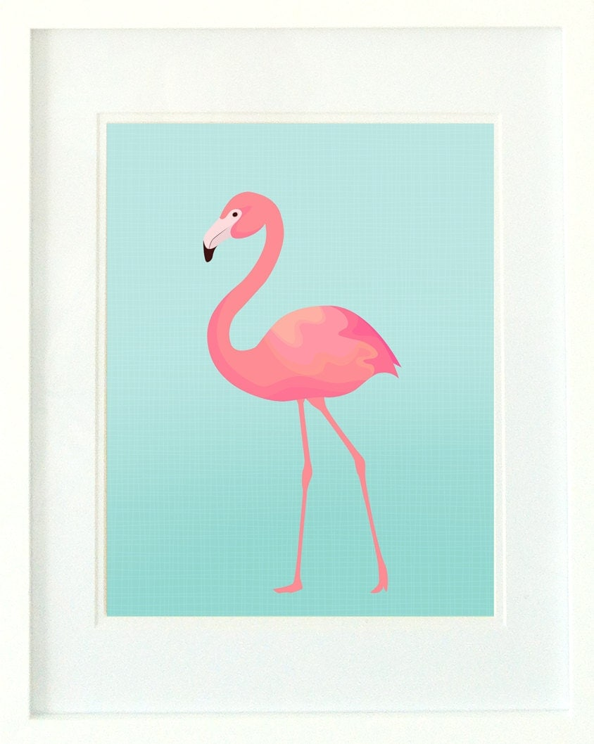 Flamingo print turquoise and pink flamingo wall art for Pink wall art