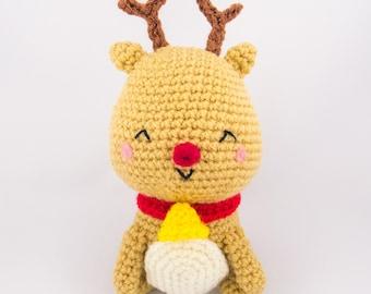 Christmas Reindeer Toy - Crochet Reindeer - Reindeer Amigurumi - Cute Reindeer - Reindeer Stuffed Animal - Reindeer plush - Holiday Gift