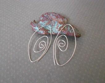 Sterrling silver swirling hoop earrings