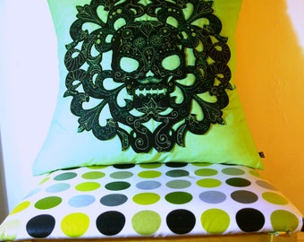 Mexican Sugar Skull Cushion-Day of the Dead Cushion-Dia de los Muertos-Embroidered Sugar Skull Cushion-56x56cm-Lime Green And Black Skull