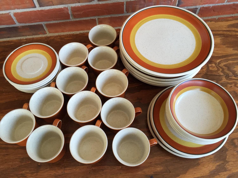 Vintage 1970s Imperial Tangerine Dinnerware Japan By