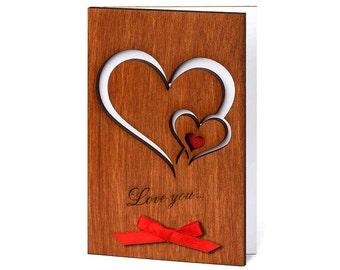 Love Cards, Wood Anniversary Card, Valentine Card, Love Gifts, 5 Year Anniversary, Valentines Day Card, Anniversary Card, 5th Anniversary