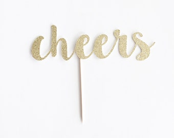 Glitter 'cheers' Cake Topper for Birthday, Shower, Special Event.