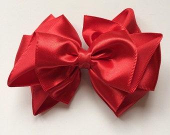 Baby Hair Clip, Red satin hair bow, 4 inch Satin hair bow, flower girls, bridesmaid,  wedding hair bow, Christmas, holiday