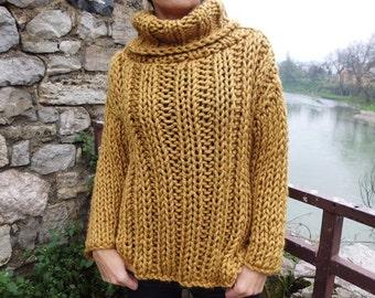 SPRING SALE Extra Chunky knit sweater mustard women sweater turtleneck sweater