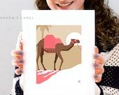 "Carmen's Camel Art Print - 8x10"" and 5.5x7.5"" - Quality Giclee Art Print For Children -  Kid's Camel Wall Art - Vivid. Novel. Captivating."