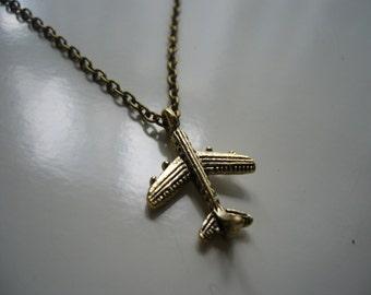 Aeroplane Necklace - Antique Bronze Aeroplane Necklace - Aeroplane Charm Necklace - miniature Aeroplane- Nickel Free