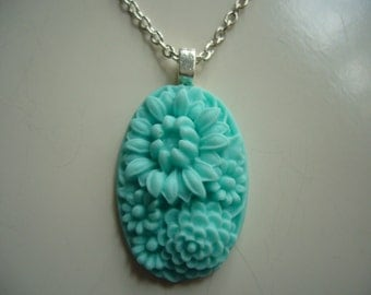 Turquoise Flower Resin Pendant Necklace, Flower Necklace, Resin Pendant Necklace, Silver Necklace- Nickel Free