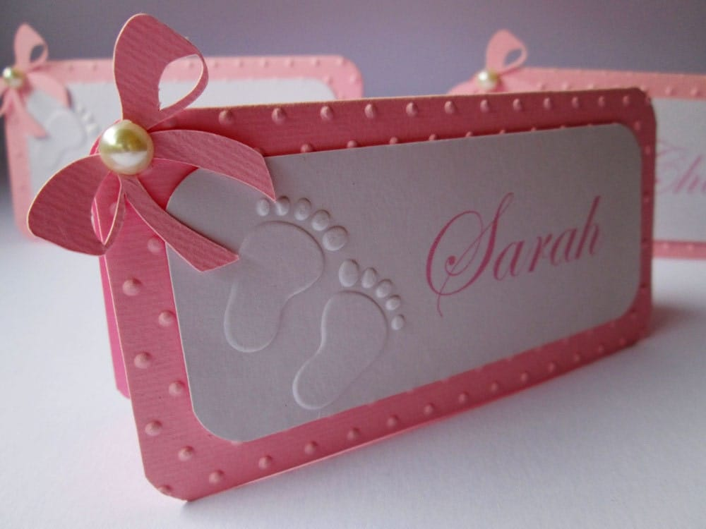 10 Personalized Pink Girl Baby Shower Place Cards Name Cards