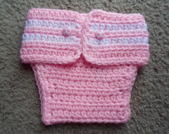 Very adorable Crochet Pink Adjustable Soccer Diaper Cover.  Available in Sizes Newborn-12 Months.