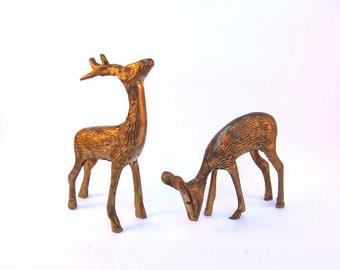 1950's Brass Deer Figurine Pair
