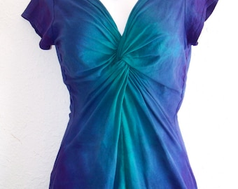 Teal and Purple, Ombre Dyed, Twisted Front Tee, with capped or 3/4 length sleeves