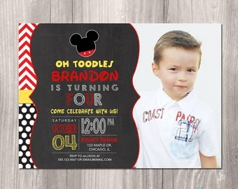 Mickey Mouse Invitation, Mickey Mouse Birthday Invitation, Mickey Mouse Photo Invitation, Chalkboard Invitation, Printable Invitation