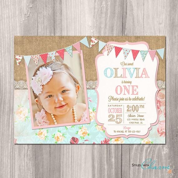 Shabby Chic Birthday Invitation Girl First Birthday