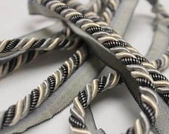 Gray, Beige, Striped Braided Cording Bundle Bolt- Decorative Trim 800