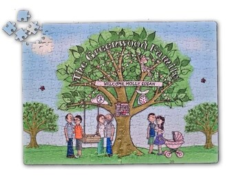 ADDITIONAL Jigsaw 'You Tree'Gift- A Custom Cartoon Family Portrait