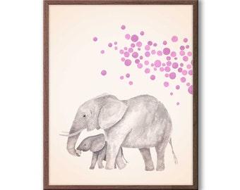 Baby Nursery Decor, Elephant Nursery Art, Kids Wall Art, Playroom Decor, Elephant Watercolor Nursery Art, New Baby Gift, E1513