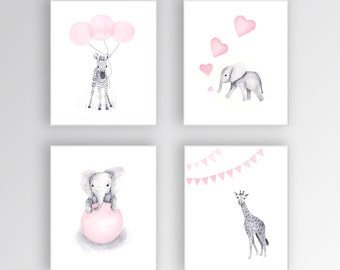 Zebra Canvas Art, Baby Girl Nursery Art, Animal Watercolor Paintings, Elephant Nursery, Zebra Nursery Art, Set of Four - S426