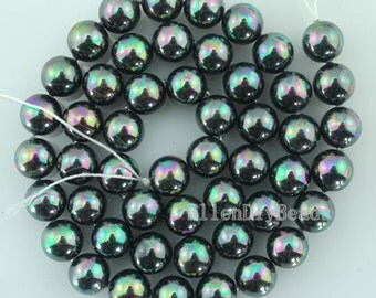 8mm  Round Shell Pearl Beads,Bright black Shell Pearl Beads,Shell Pearl Beads,One Full Strand,Gemstone Beads-50pcs-16 inches-BP034