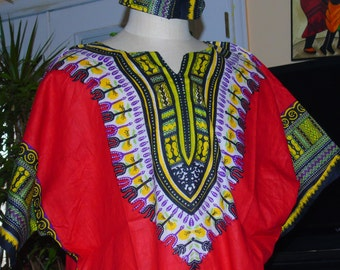 African Dashiki with  two front pockets.  Red