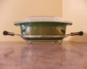 Rare 1966 Promotional Pyrex Green Bramble 043 with Lid and Brass Cradle