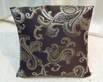 18x18 inch Brown, Blue, Tan, Gold Pillow Cover