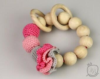 Crochet beads rattle Amigurumi Baby teething toy Crochet baby rattle Eco friendly Rattle Baby Shower Gift  Crochet beads rattle