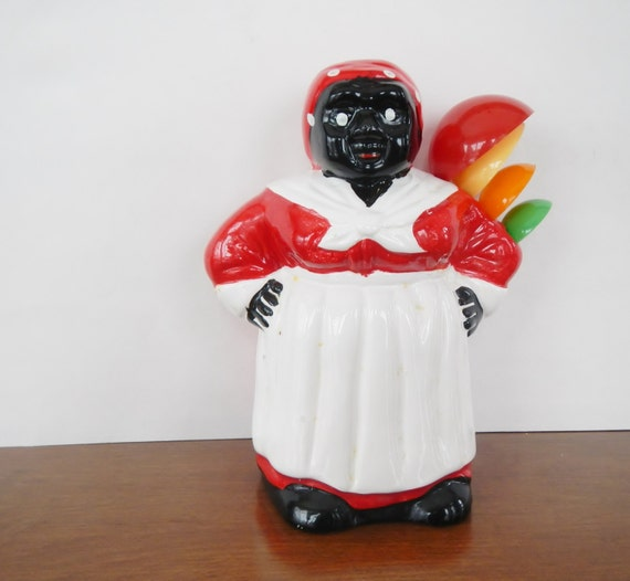 Vintage Aunt Jemima Measuring Spoon Holder Red White Black Americana Mammy