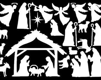 Large Nativity Window Clings - Reusable Manger Scene Window Decorations - Christmas Window Decal