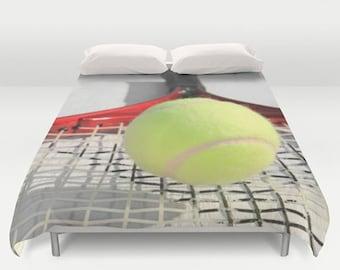 Tennis Duvet Cover-Tennis Racquet & Ball Photo Duvet-Sports Room Decor-Girls/Boys Bedding-Twin/Full/Queen/King Duvet Cover-Dorm Duvet Cover