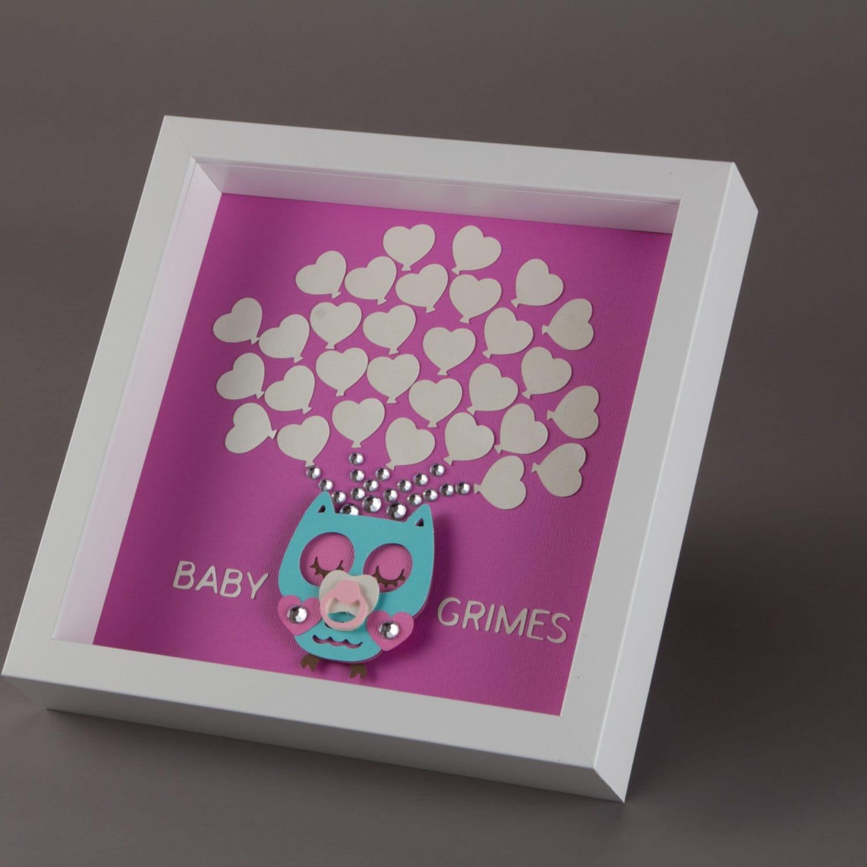 Framed Baby Shower Owl Guest Book Alternative 30 Heart