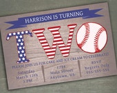 Baseball Birthday Invitation - 2nd Birthday or 1st Birthday Customized Invitation
